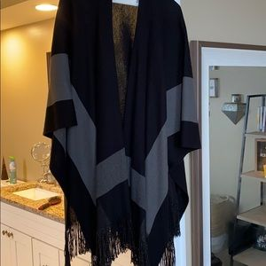 Black w/ grey stripe Poncho